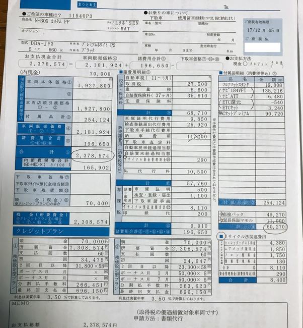 ホンダディーラーに新型N-BOXの試乗へ(後編) ~見積もり編~