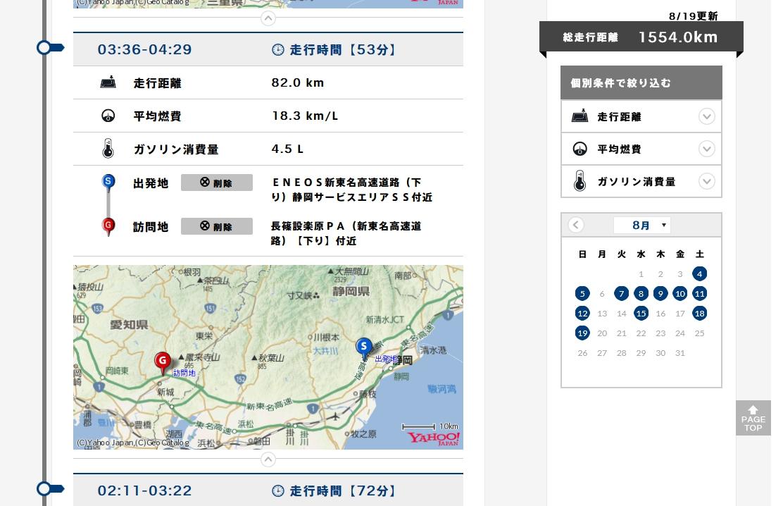 ホンダトータルケアのドライブノートで地図付きでドライブ履歴が見られるのが楽しいです^^