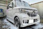 愛車のN-BOXカスタムが泡々に^^洗車場にて手洗いシャンプー洗車しました♪