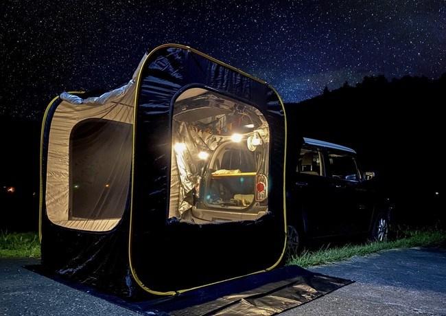 車中泊、キャンプにクルマのトランクに連結できるポップアップテント「CARSULE(カースル)」がN-BOXに良さげ^^