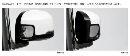 N-BOXのオートリトラミラー(ドアロック連動格納式ドアミラー)はグレードによって標準装備・オプション装備。