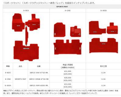 無限からテンションが上がるレッドカラーの「N-BOX」「N-ONE」「N-WGN」フロアマット・ラゲッジマットが発売開始!